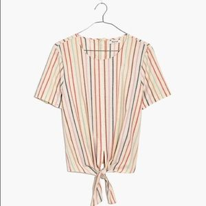 Madewell Tie-Front Button-Back Tee Rainbow Stripe